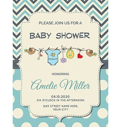 Beautiful baby boy shower card vector image vector image