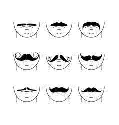 big set of hipster mustache vector image