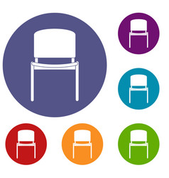 Black office chair icons set vector