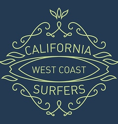 California west coast surfers Monograms style vector image vector image