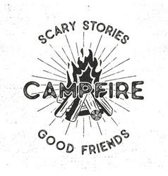 camping t-shirt design hand drawn vintage label vector image vector image