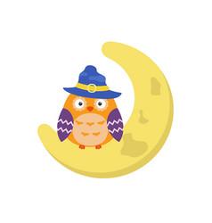cartoon owl sitting on the moon cartoon owl vector image