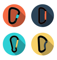 climbing carabiners flat icon set vector image