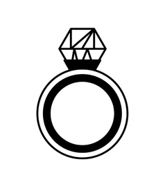 Diamond ring wedding icon vector