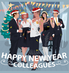 Employees congratulate colleagues with new year vector