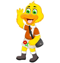 Funny duck cartoon holiday vector