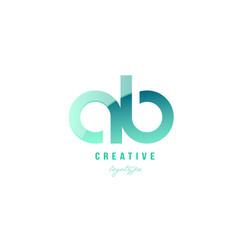 Green gradient pastel modern ab a b alphabet vector
