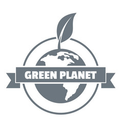green planet logo simple gray style vector image vector image