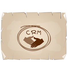 Handshake with crm or customer relationship manage vector