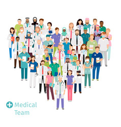 healthcare medical team in heart shape vector image vector image