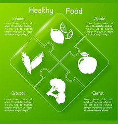 Healthy food infographics puzzle design vector