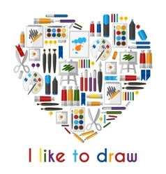 I like to draw heart of pencils and paintbrushes vector