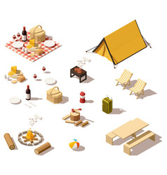 Isometric low poly camping equipment vector