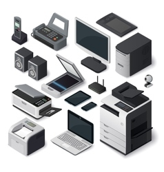 Isometric office equipment set vector image vector image