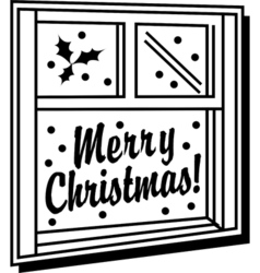 Merry christmas window vector image vector image