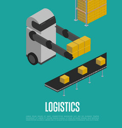 Modern logistics technology isometric banner vector