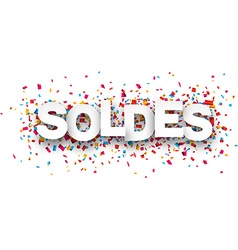 Paper soldes confetti sign vector