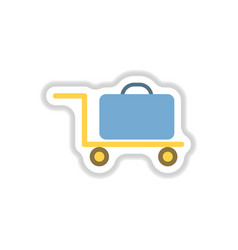 paper sticker on white background suitcase on vector image