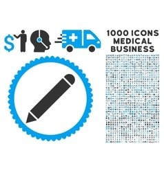 Pencil Icon with 1000 Medical Business Symbols vector image