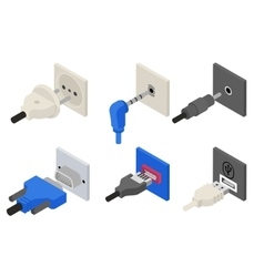 Plugs icons isometric 3d vector image