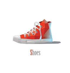 Polygonal of red sneakers modern fashion icon vector