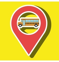 Red signal of yellow bus isolated icon design vector