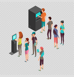 row of waiting people at atm payment machine and vector image