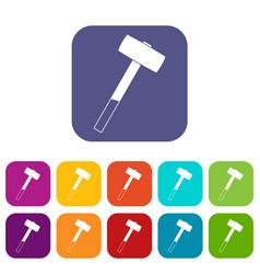 Sledgehammer icons set flat vector