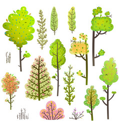 Trees bush green forest clipart collection vector