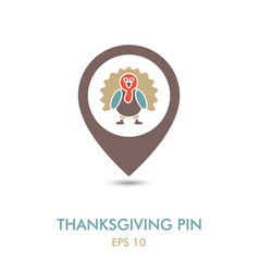 turkey mapping pin icon harvest thanksgiving vector image