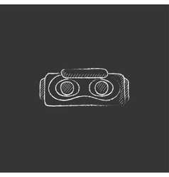 Virtual reality headset drawn in chalk icon vector