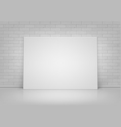 white picture frame standing with brick wall vector image vector image