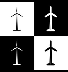 Wind turbine logo or sign black and white vector