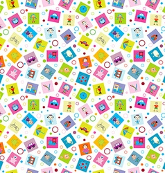 Wrapping paper with toys for kids vector image vector image