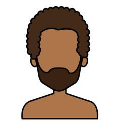 young black man shirtless avatar character vector image