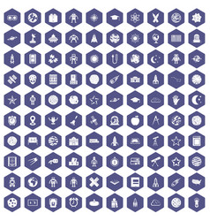 100 astronomy icons hexagon purple vector