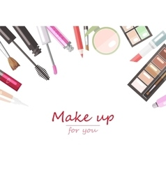 Makeup beauty products flat vector