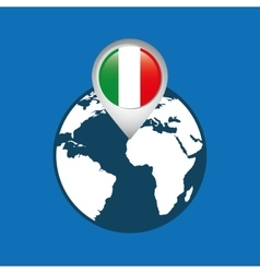World map with pointer flag italy vector