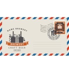 Envelope with a postage stamp for a beer pub vector