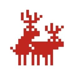 Pixel art style retro game two deers making love vector
