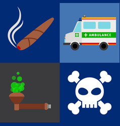 Ambulance tobacco drugs death icons vector