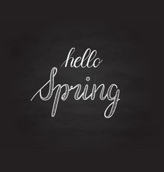 Hello spring grunge vintage lettering on a vector