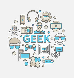 Geek round colorful vector