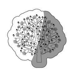 monochrome background sticker of tree with leaves vector image
