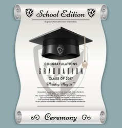 High school academic concept with graduation cap vector