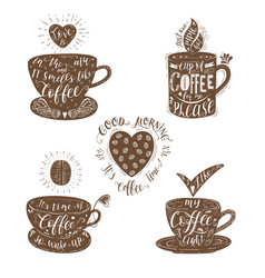 set of quotes for coffee vector image