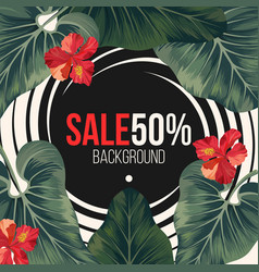 50 percent sale background with exotic rainforest vector