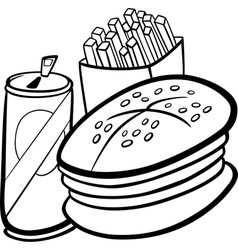 Fast food cartoon for coloring book vector