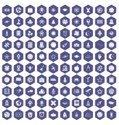 100 astronomy icons hexagon purple vector