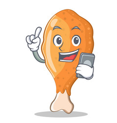 With phone fried chicken character cartoon vector